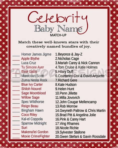 Celebrity Baby Name Match Up Game - Baby Shower ...