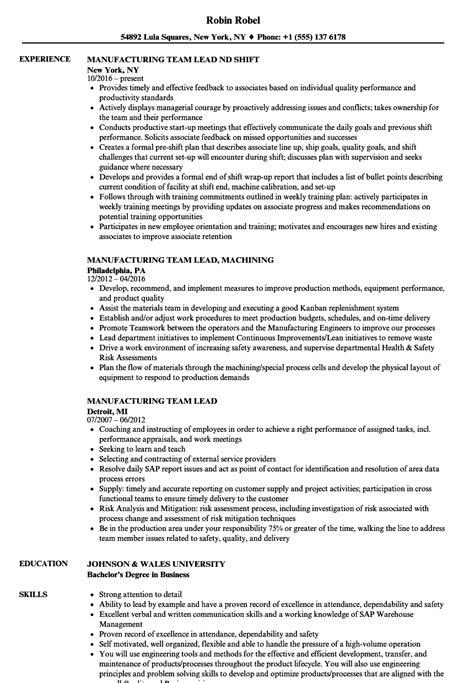 manufacturing team lead resume samples velvet jobs
