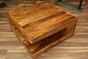 Couchtisch Quadratisch Holz : couchtisch stauraum 90x90x40 sheesham holz massiv wohnzimmertisch quadratisch ebay ~ Buech-reservation.com Haus und Dekorationen