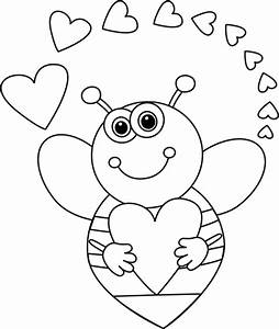 Black and White Cartoon Bee with Valentine's Day Hearts ...