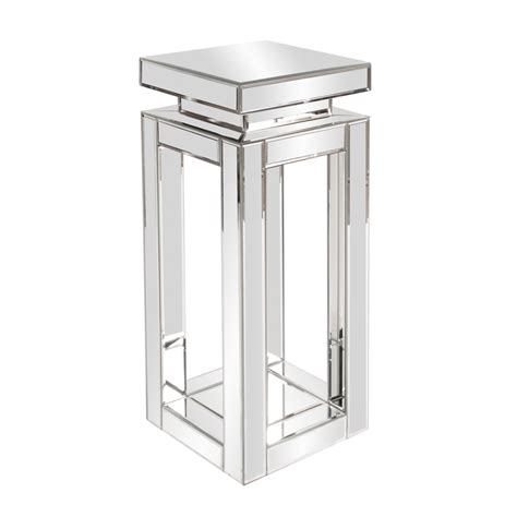 small mirrored accent table mirrored pedestal table small howard elliott