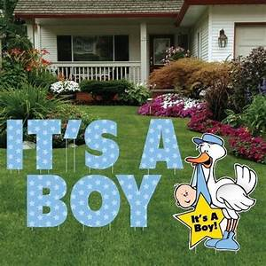 it39s a boy yard card letters stork baby announcement With big yard letters