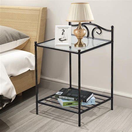 Metal Nightstand by Yaheetech 2 Tier Metal Stand Antique Bedside Table