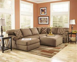 Ashley furniture living room fusion ashley cowan mocha for Ashley sectional sofa with ottoman