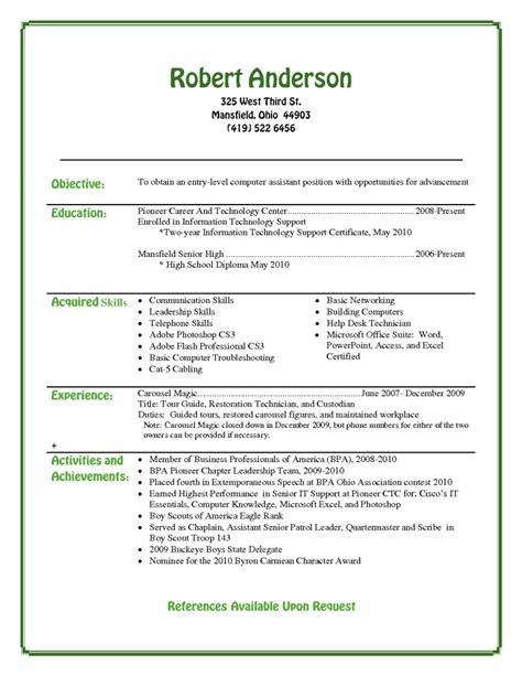 entry level microsoft jobs entry level resume template for high school students