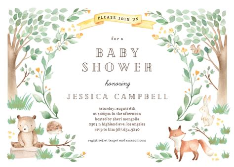 woodland creatures baby shower invitation template