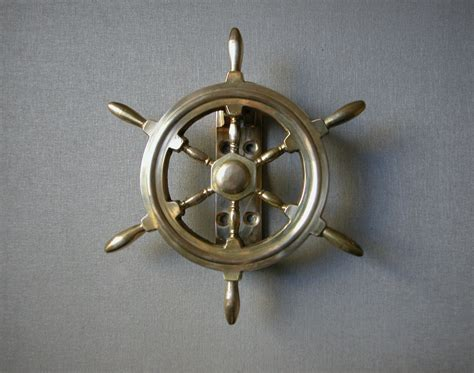 Vintage Brass Ship Wheel Dook Knocker, Nautical Door