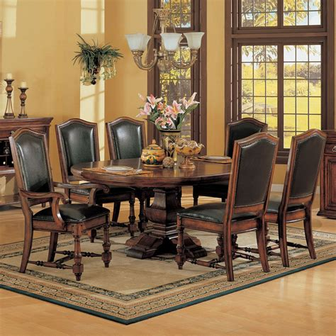 ashford pedestal dining table leather chair winners