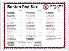 Printable 2018 Boston Red Sox Schedule