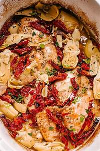 crock pot chicken thighs recipe with artichokes and sun
