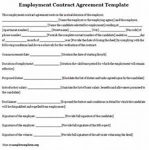 employment template for contract agreement example of With templates for employment contracts