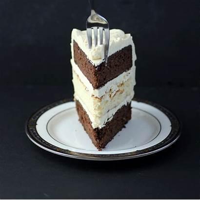 Cake Chocolate Cheesecake Slice Vanilla Three Layers
