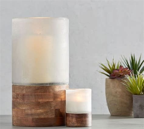 Wood And Glass Candle Holders by Wood And Frosted Glass Candle Holders Pottery Barn