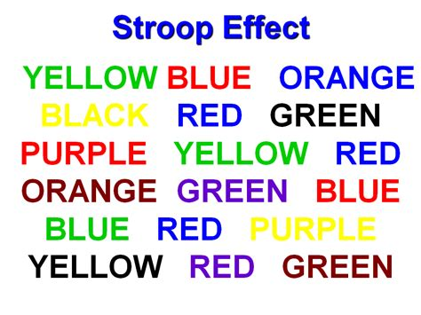 stroop color word test brain teaser stroop effect
