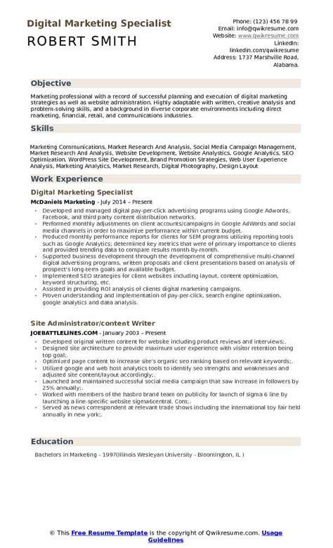 18408 digital marketing resume digital marketing specialist resume sles qwikresume
