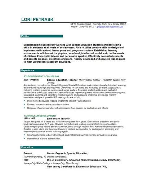 exle of teachers resume resume templates easyjob