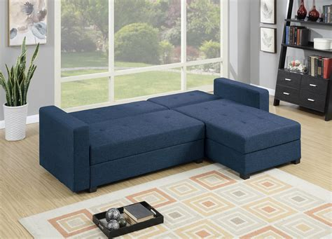 chaise navy f7895 navy blue reversible chaise sectional sofa by poundex