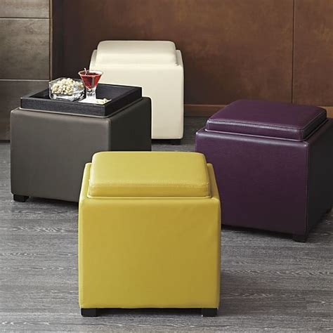 crate and barrel stow storage ottoman stow smoke 17 5 quot leather storage ottoman