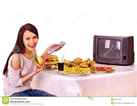 cuisine tv free fast food and tv royalty free stock