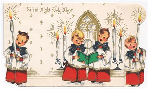 vintage traditional christmas card retro christmas card silent night with choirboys free ephemera scans vintage photos book pages