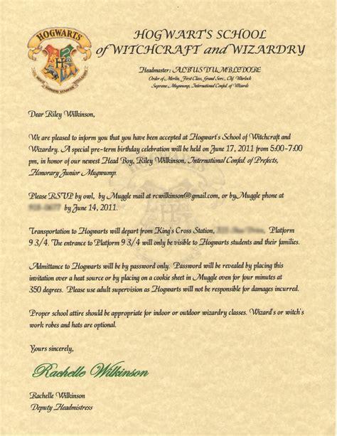 harry potter invitation wilkinsonquints s harry potter birthday