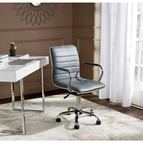 safavieh jonika grey leather office chair fox7520c the
