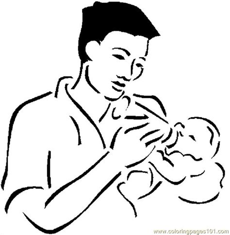 father feeding baby  coloring page   coloring