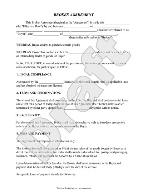 broker agreement contract fees business sample