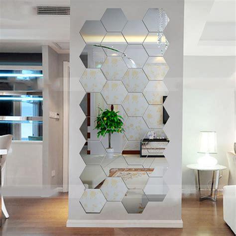 mirror home decor hexagonal 3d mirrors wall stickers home decor living room