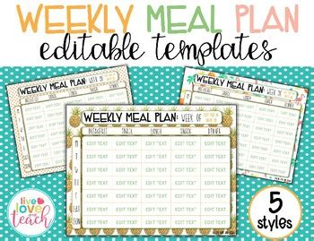 editable weekly meal planner weekly meal plan editable template by live and teach tpt