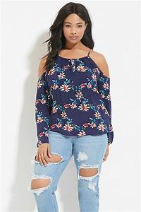 Forever 21 Plus Size Open-shoulder Top in Blue | Lyst