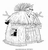 Hut Coloring Straw Children Shutterstock Cartoon Pig Haso Pigs sketch template