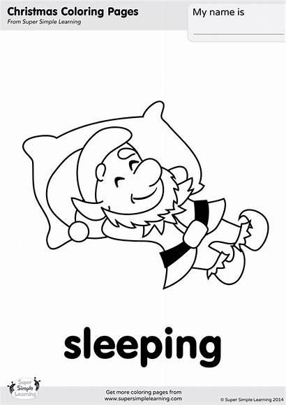 Coloring Sleeping Elves Pages Verbs Worksheets Christmas