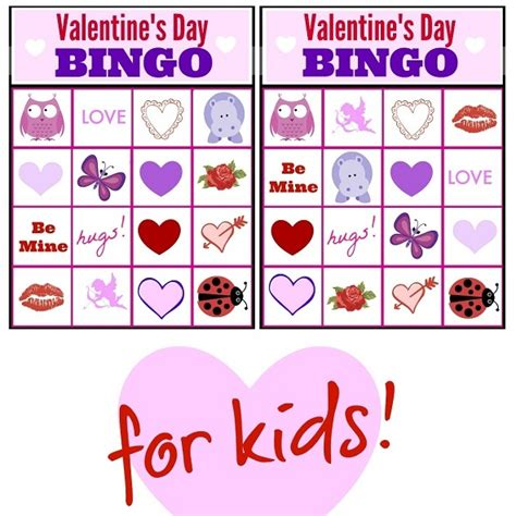 valentine bingo game printable collection  kids