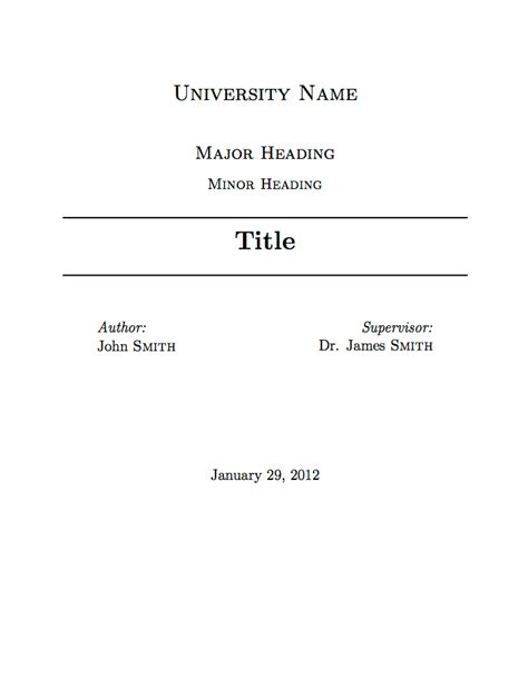 title page template templates 187 assignment