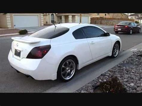 white nissan altima coupe   gunmetal volk wheels