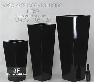 - Vaso Ares Laccato Lucido Nero - Cm 38 X 38 H  105
