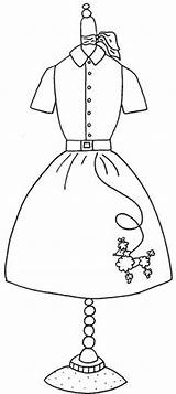 Coloring Pages Poodle Skirt Form Embroidery 1950s Google Applique Colouring Pattern Sock Hop 50s Forms Skirts Maniquies Dresses Designs Books sketch template