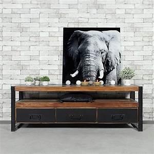 Meuble Tv Bois Foncé : meuble tv industriel 3 tiroirs bois fonc made in meubles ~ Teatrodelosmanantiales.com Idées de Décoration