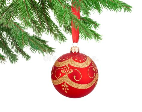 Red Decorations Christmas Ball Hanging On A Fir Tree