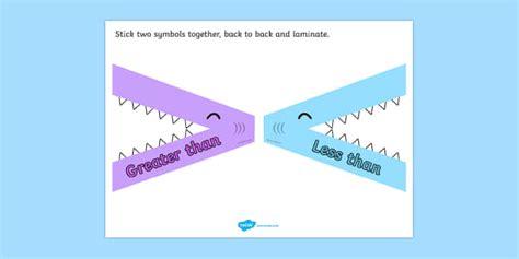 Greater Than Less Than Flippable Visual Aid Shark Theme Visual