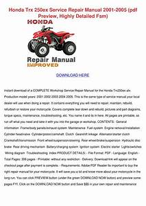 Honda Trx 250ex Service Repair Manual 2001 20 By