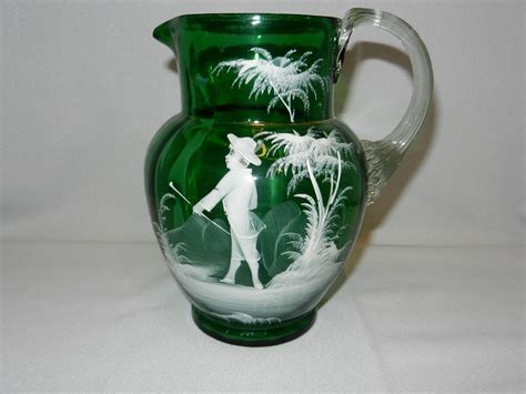 glass jug l base antique green mary gregory style victorian glass pitcher