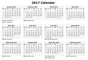12 Month Calendar 2017 Printable