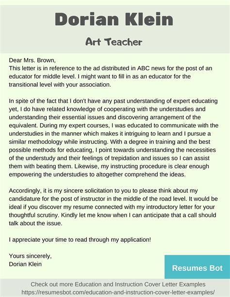 art teacher cover letter samples templates pdfword