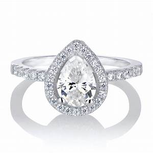 Halo ring pear halo ring for Pear wedding rings