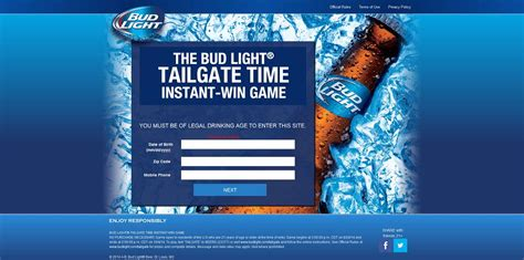 bud light tailgate sweepstakes bud light tailgate time instant win game at budlight com