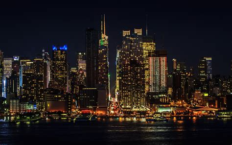 Download Wallpapers Manhattan 4k New York Nightscapes