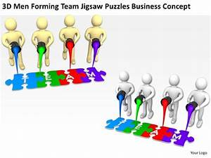 3d Men Forming Team Jigsaw Puzzles Business Concept Ppt