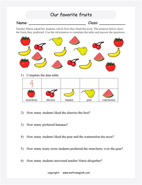 favorite fruits picture graph printable grade  math worksheet
